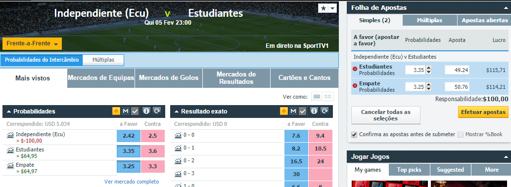estudiantes vs independiente trading